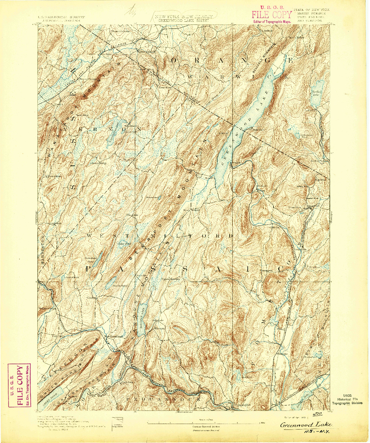 USGS 1:62500-SCALE QUADRANGLE FOR GREENWOOD LAKE, NY 1893