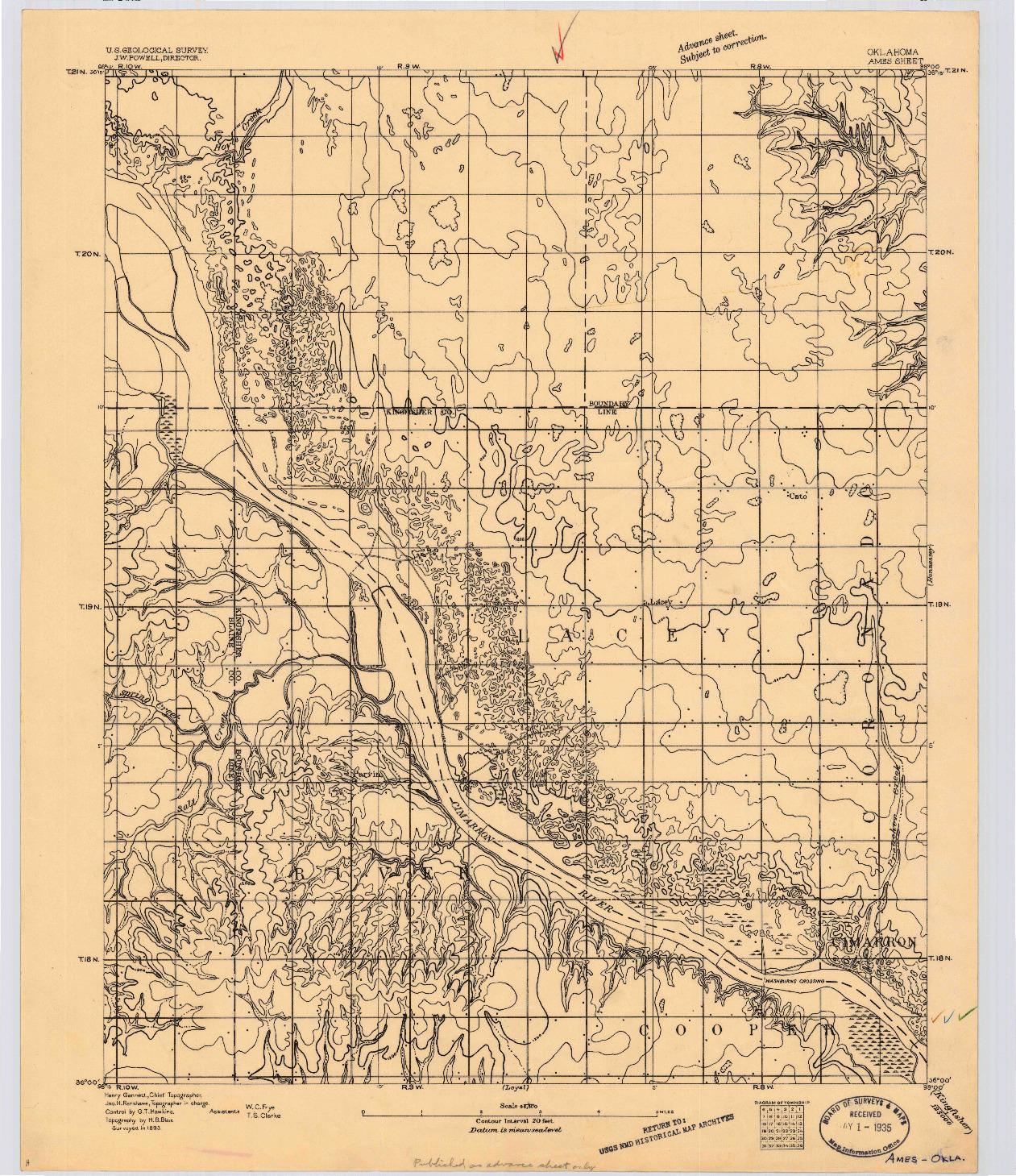 USGS 1:62500-SCALE QUADRANGLE FOR AMES, OK 1893