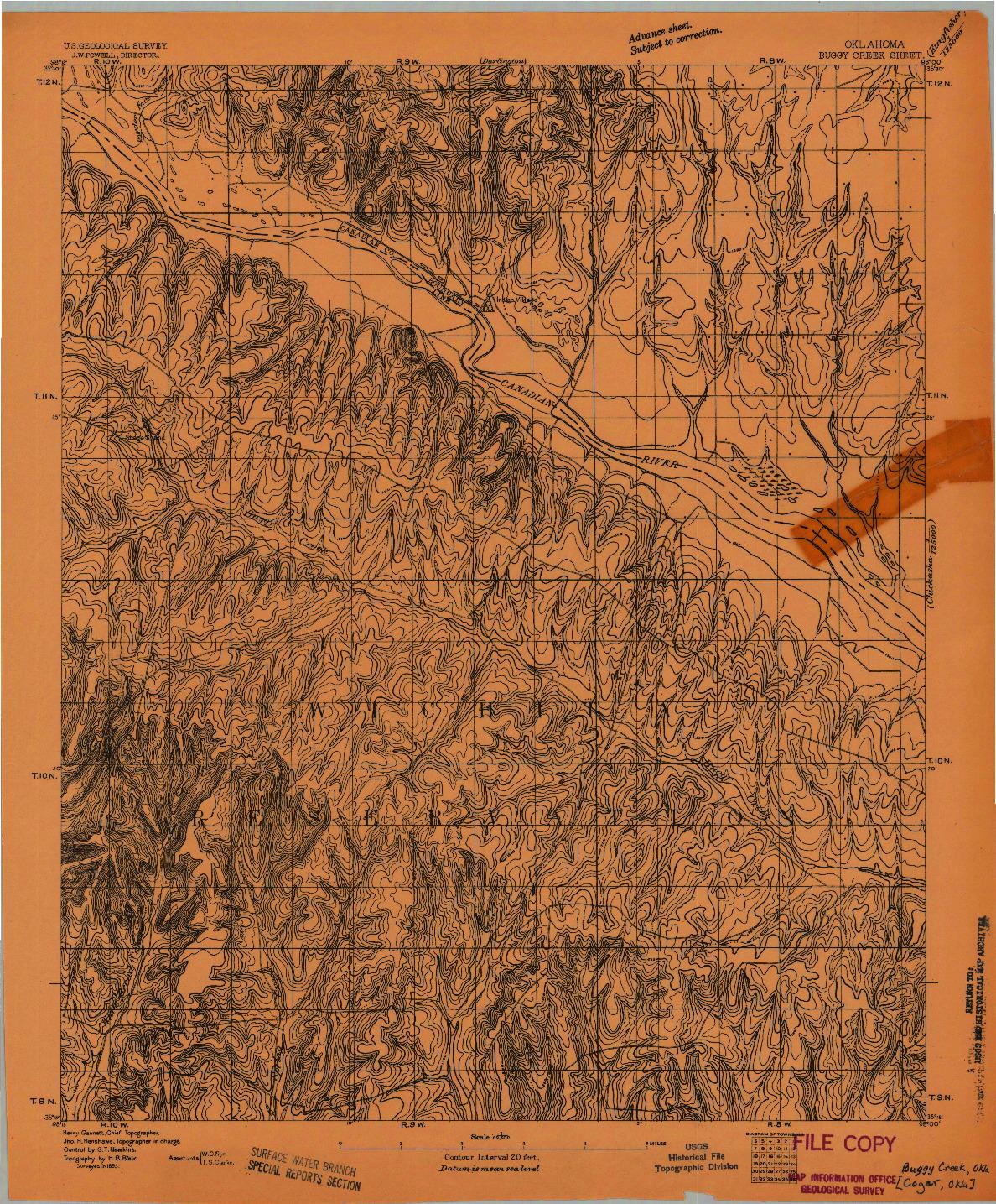 USGS 1:62500-SCALE QUADRANGLE FOR BUGGY CREEK, OK 1893