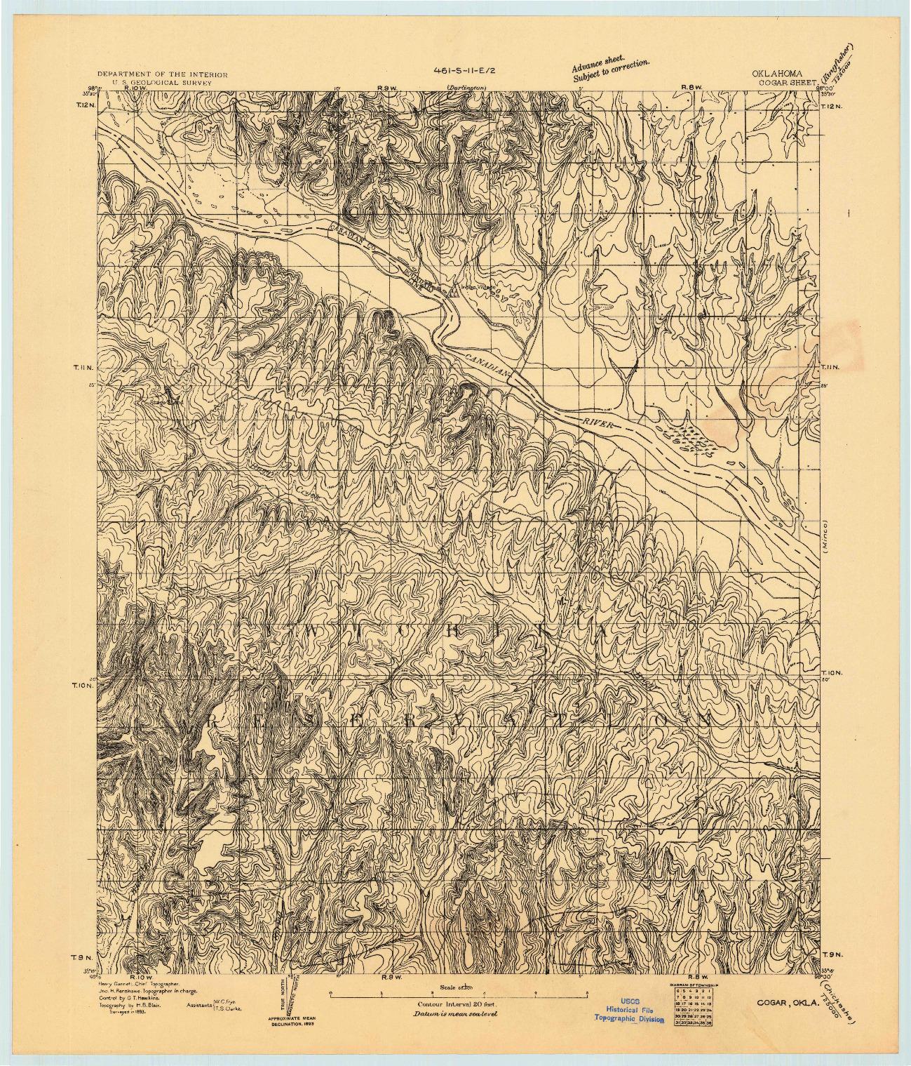 USGS 1:62500-SCALE QUADRANGLE FOR COGAR, OK 1893