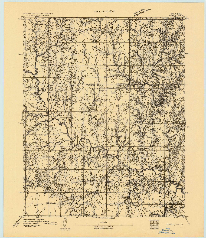 USGS 1:62500-SCALE QUADRANGLE FOR LOVELL, OK 1893