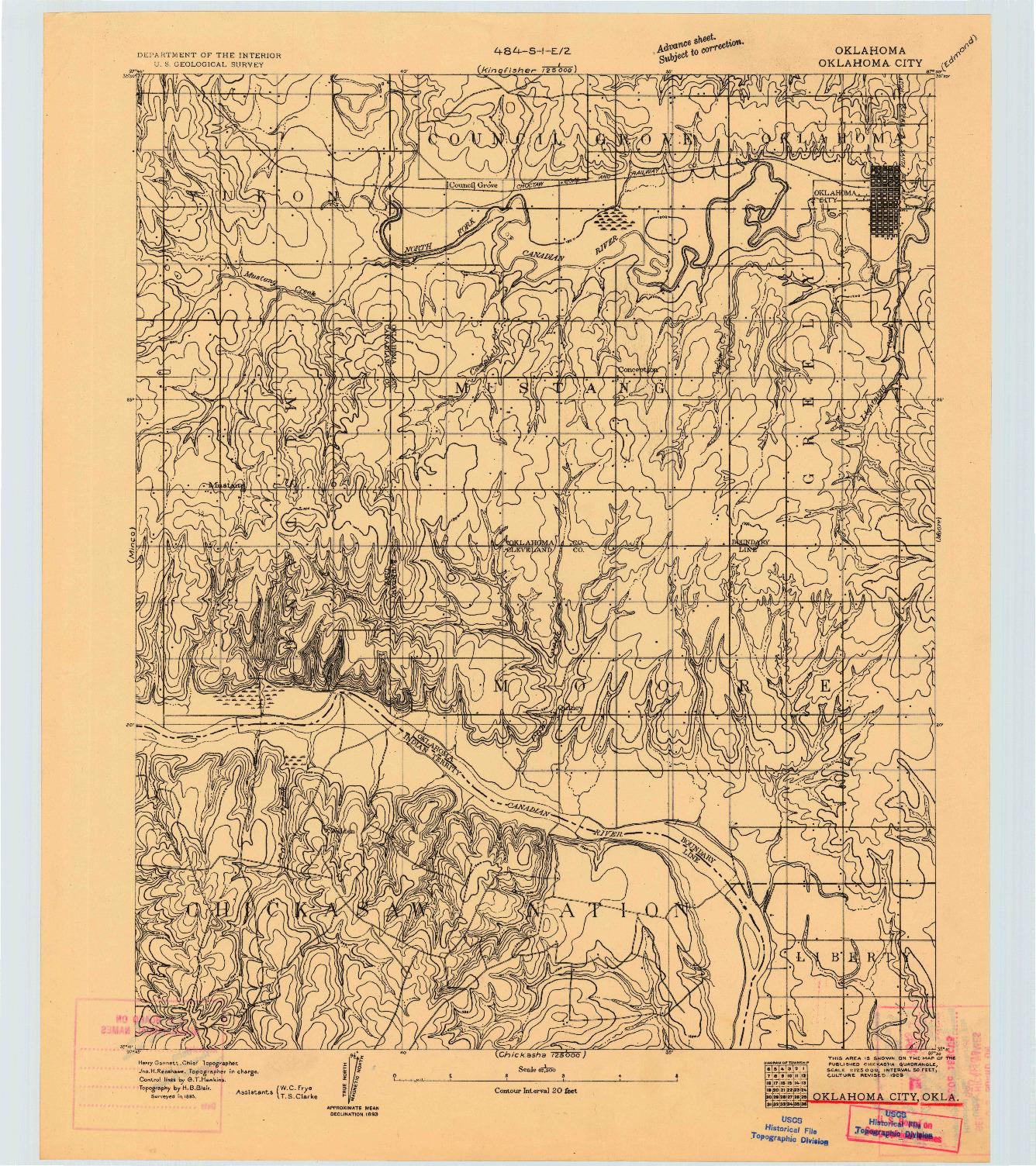 USGS 1:62500-SCALE QUADRANGLE FOR OKLAHOMA CITY, OK 1893