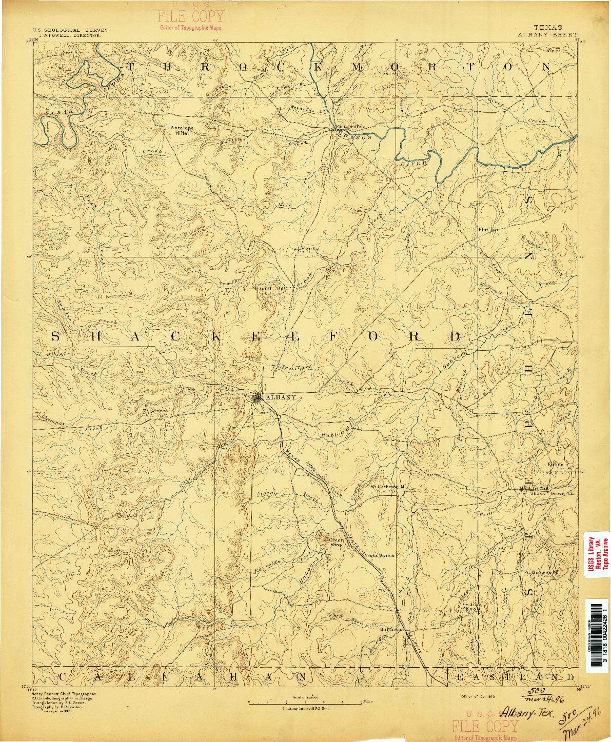 USGS 1:125000-SCALE QUADRANGLE FOR ALBANY, TX 1893