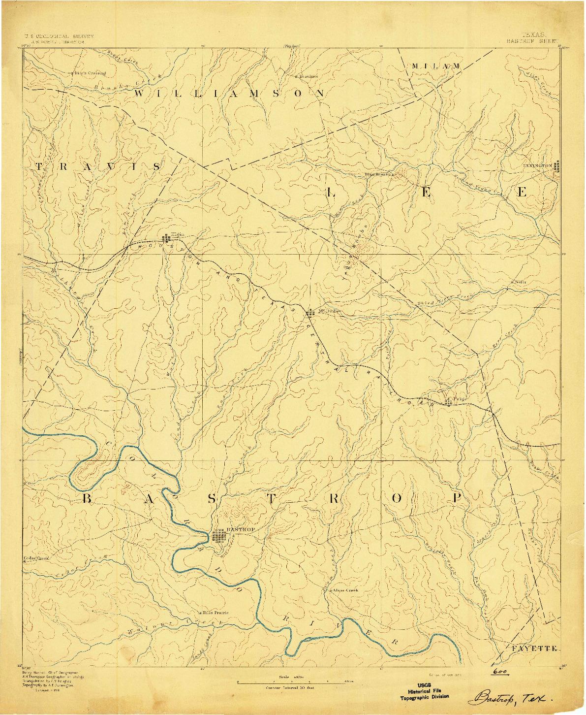 USGS 1:125000-SCALE QUADRANGLE FOR BASTROP, TX 1893