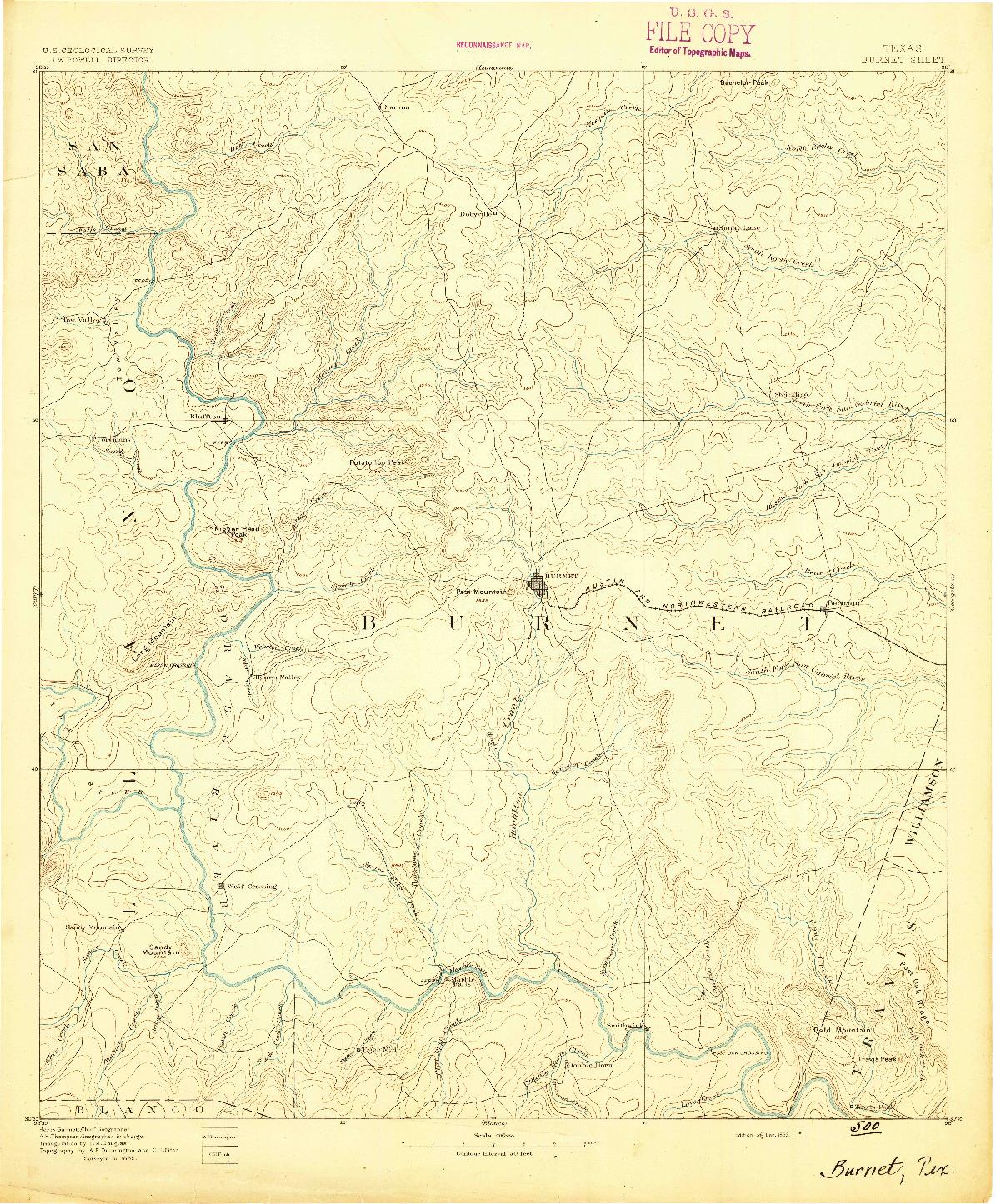 USGS 1:125000-SCALE QUADRANGLE FOR BURNET, TX 1893