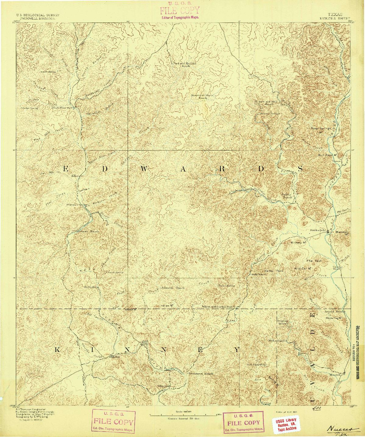 USGS 1:125000-SCALE QUADRANGLE FOR NUECES, TX 1893