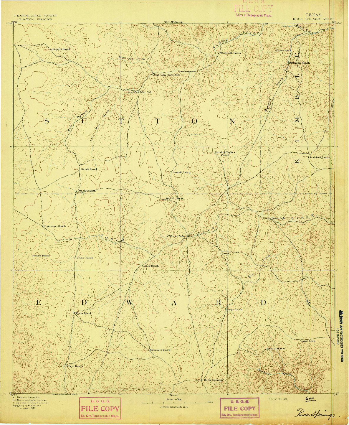 USGS 1:125000-SCALE QUADRANGLE FOR ROCK SPRINGS, TX 1893