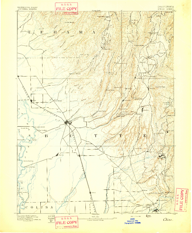 USGS 1:125000-SCALE QUADRANGLE FOR CHICO, CA 1893