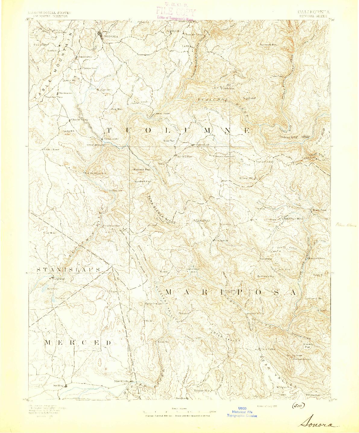 USGS 1:125000-SCALE QUADRANGLE FOR SONORA, CA 1893