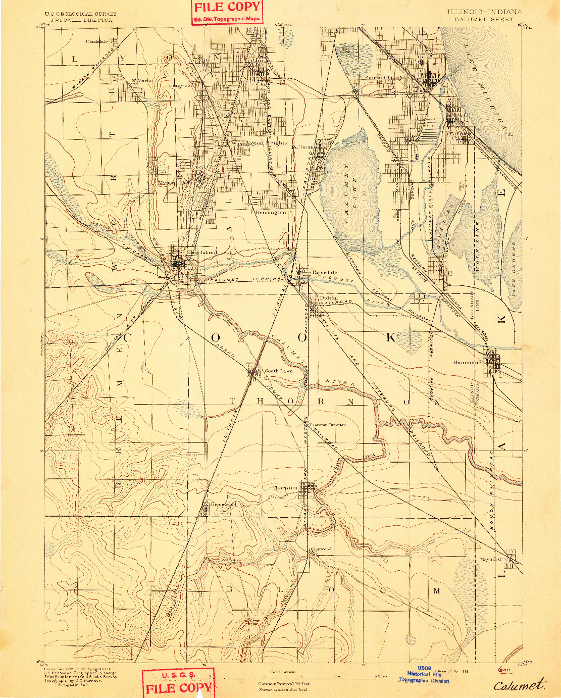USGS 1:62500-SCALE QUADRANGLE FOR CALUMET, IL 1893