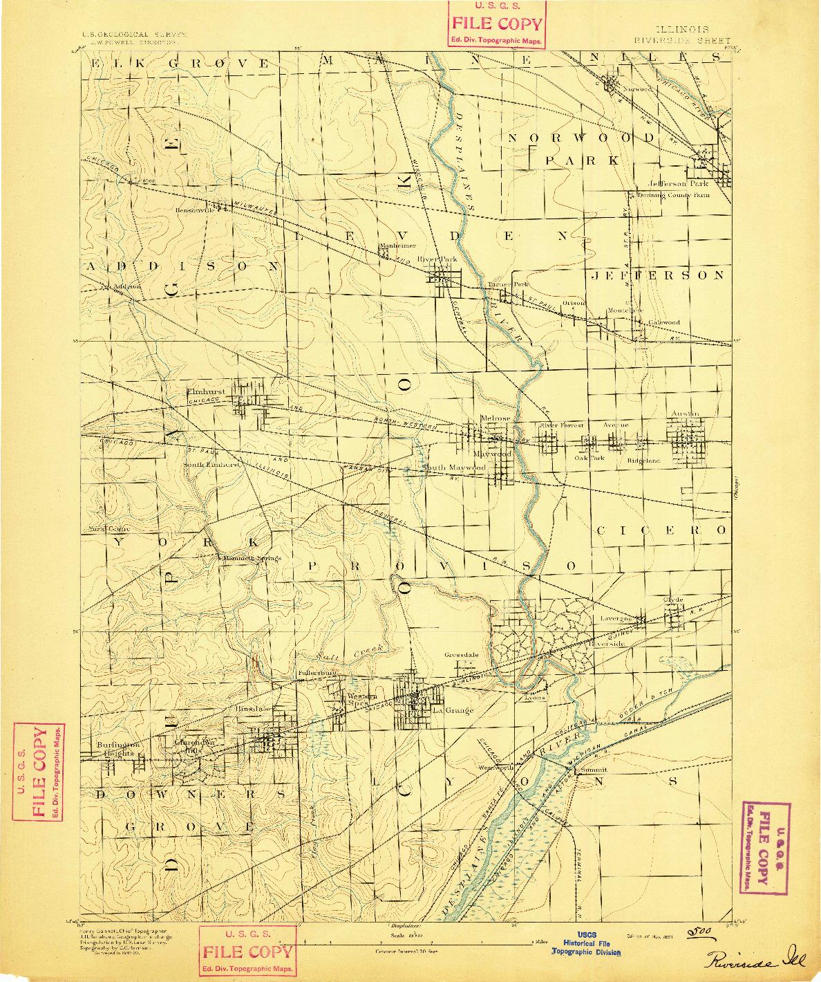 USGS 1:62500-SCALE QUADRANGLE FOR RIVERSIDE, IL 1893