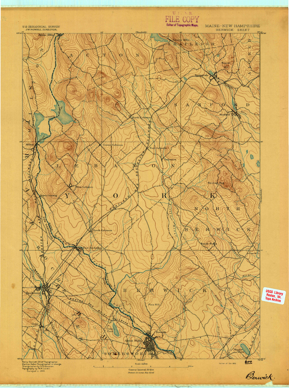 USGS 1:62500-SCALE QUADRANGLE FOR BERWICK, ME 1893