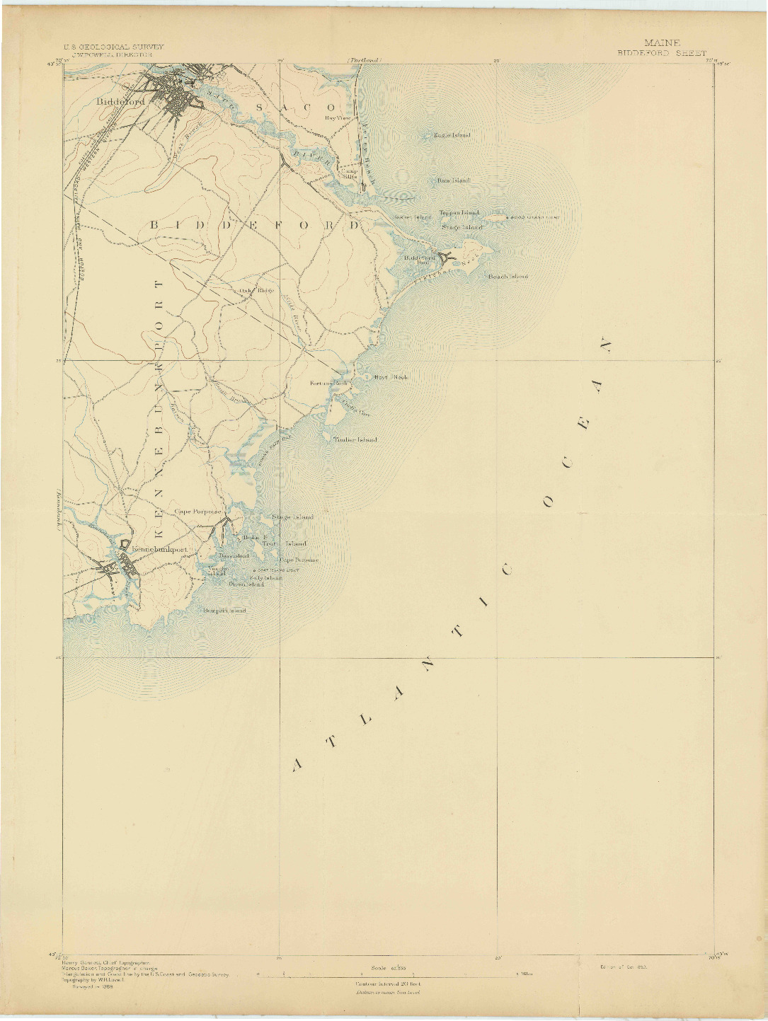 USGS 1:62500-SCALE QUADRANGLE FOR BIDDEFORD, ME 1893