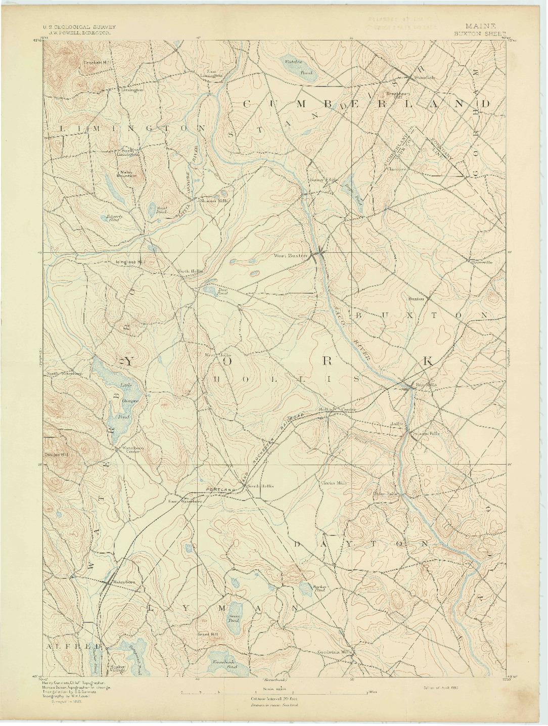 USGS 1:62500-SCALE QUADRANGLE FOR BUXTON, ME 1893