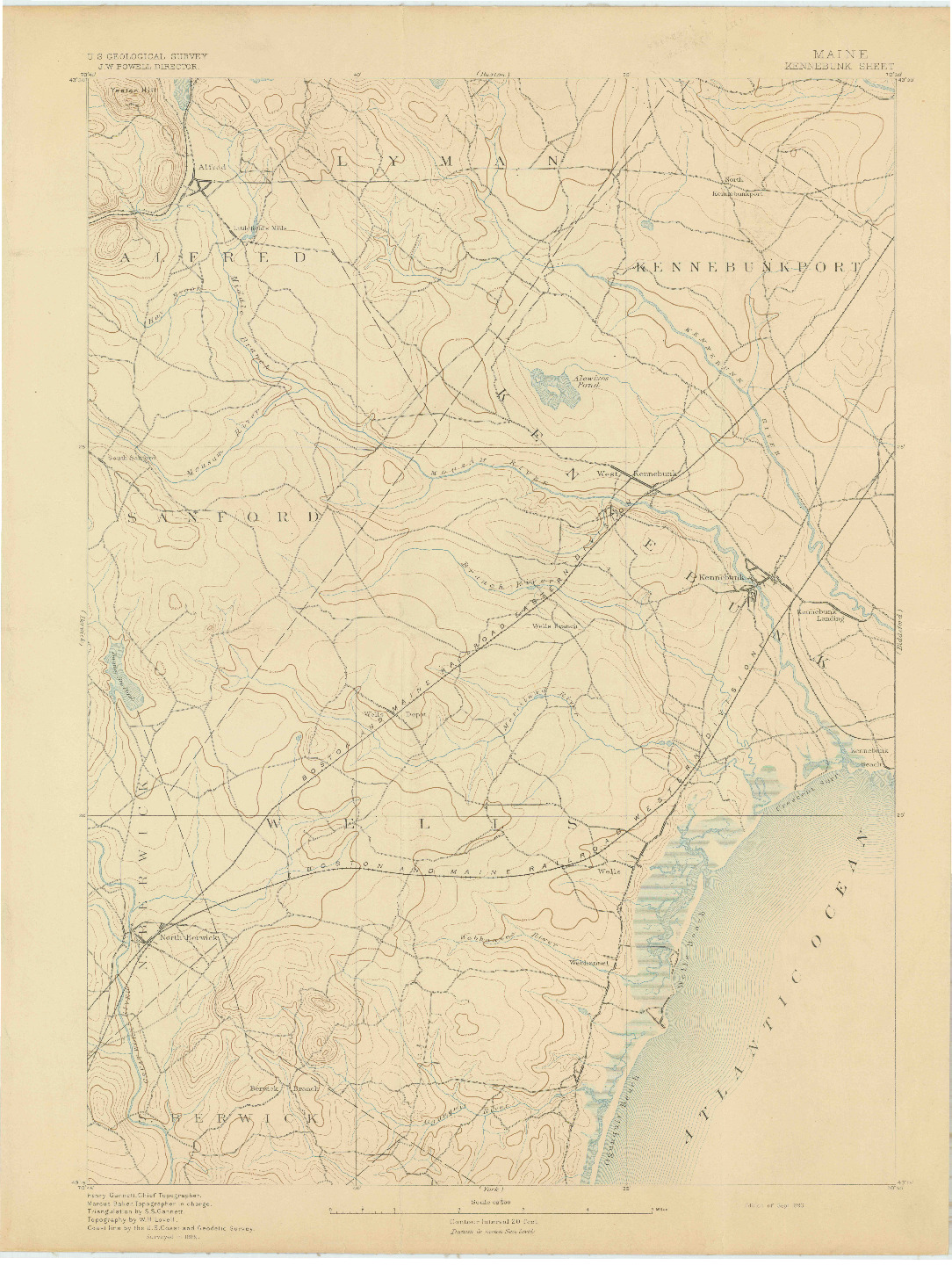 USGS 1:62500-SCALE QUADRANGLE FOR KENNEBUNK, ME 1893