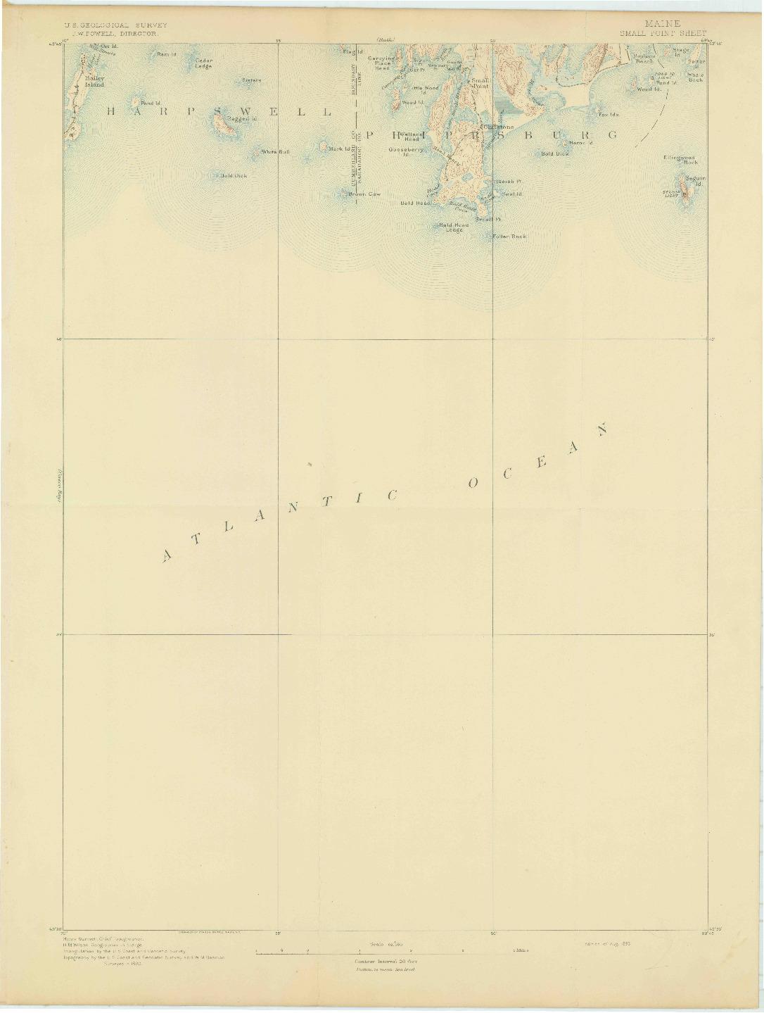 USGS 1:62500-SCALE QUADRANGLE FOR SMALL POINT, ME 1893