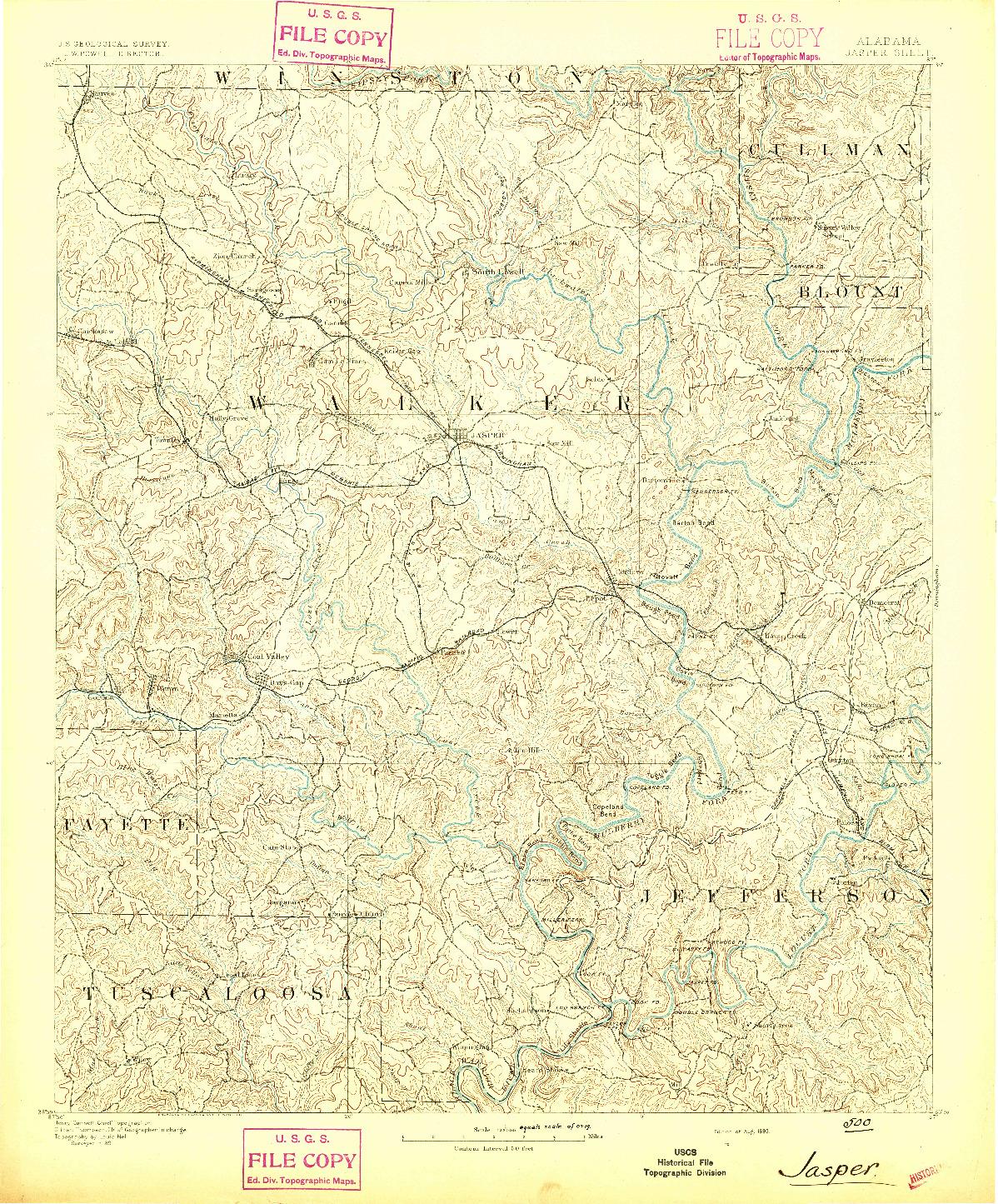 USGS 1:125000-SCALE QUADRANGLE FOR JASPER, AL 1893