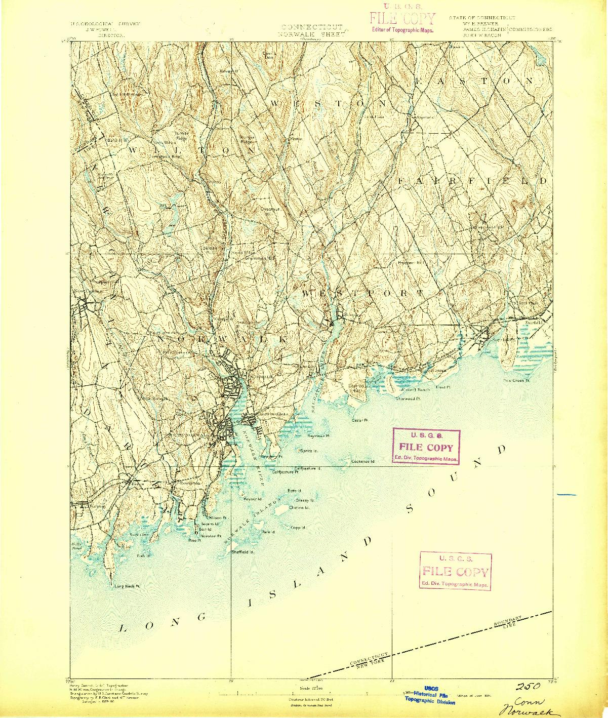 USGS 1:62500-SCALE QUADRANGLE FOR NORWALK, CT 1893