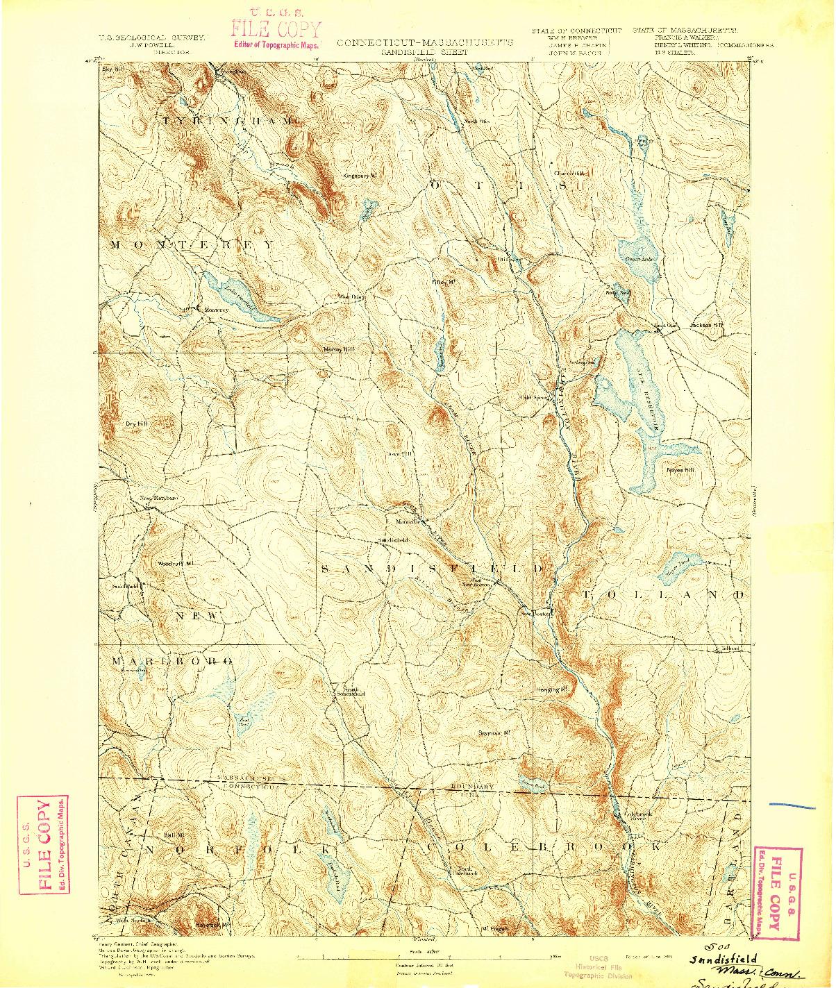 USGS 1:62500-SCALE QUADRANGLE FOR SANDISFIELD, CT 1893
