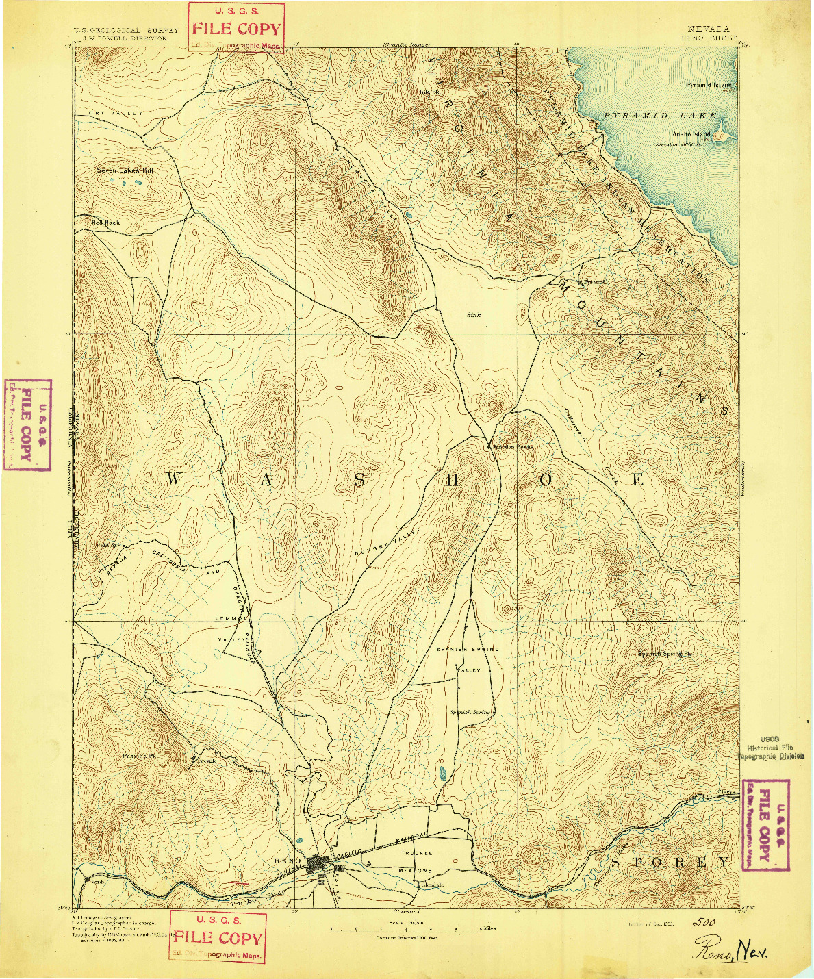 USGS 1:125000-SCALE QUADRANGLE FOR RENO, NV 1893