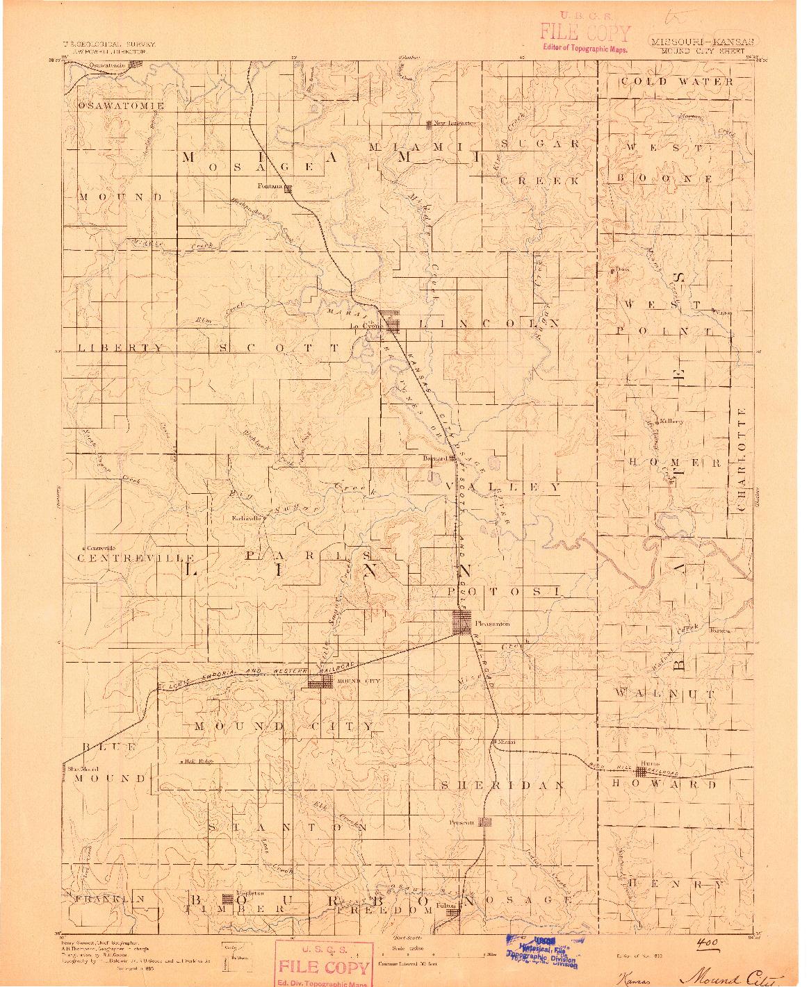 USGS 1:125000-SCALE QUADRANGLE FOR MOUND CITY, MO 1893