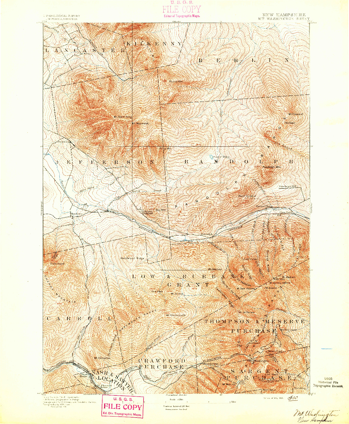USGS 1:62500-SCALE QUADRANGLE FOR MT. WASHINGTON, NH 1893