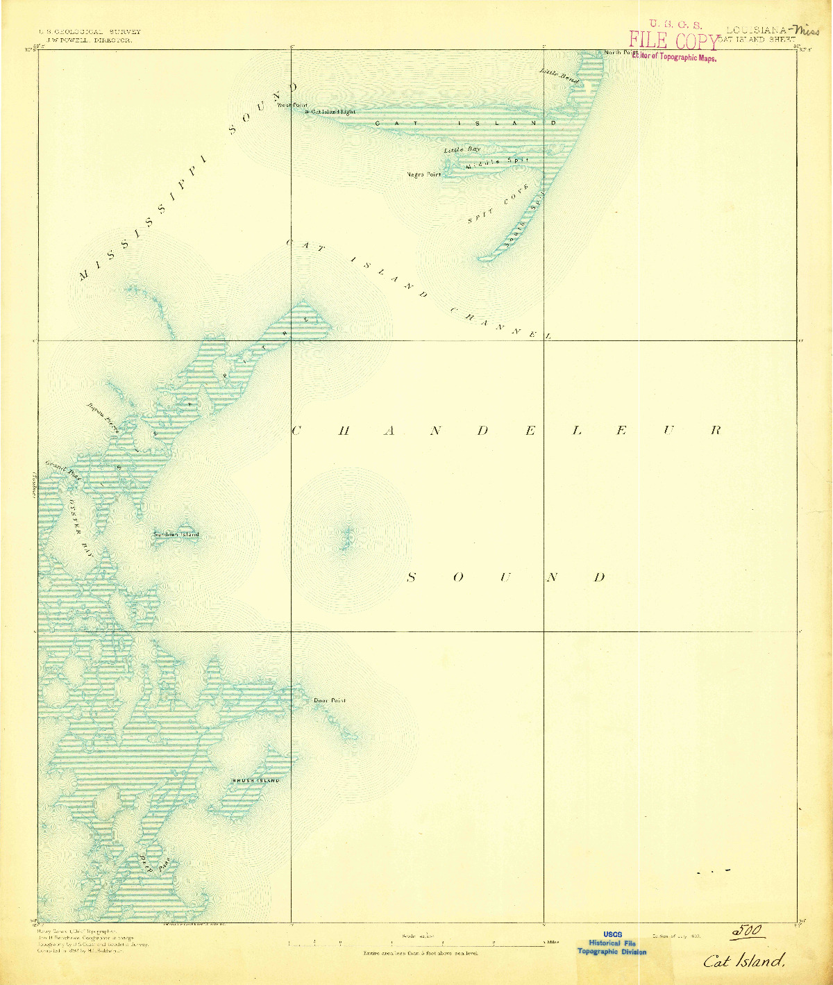 USGS 1:62500-SCALE QUADRANGLE FOR CAT ISLAND, LA 1893