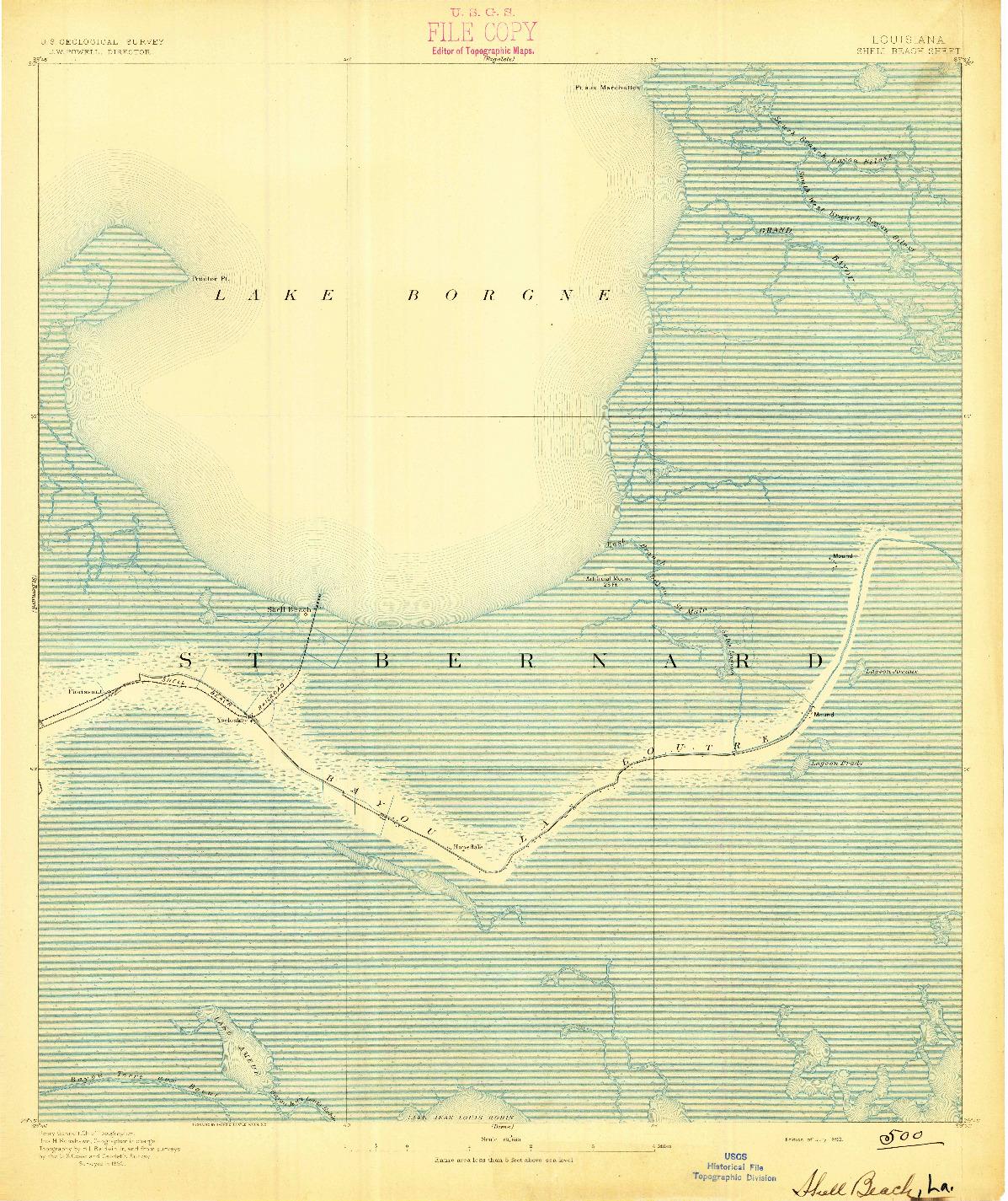 USGS 1:62500-SCALE QUADRANGLE FOR SHELL BEACH, LA 1893