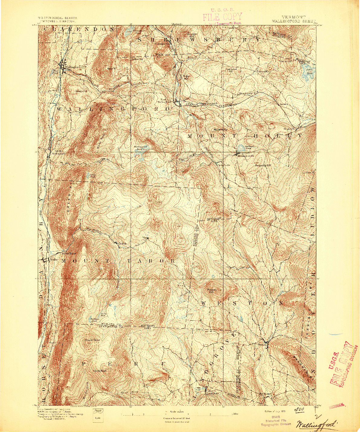 USGS 1:62500-SCALE QUADRANGLE FOR WALLINGFORD, VT 1893