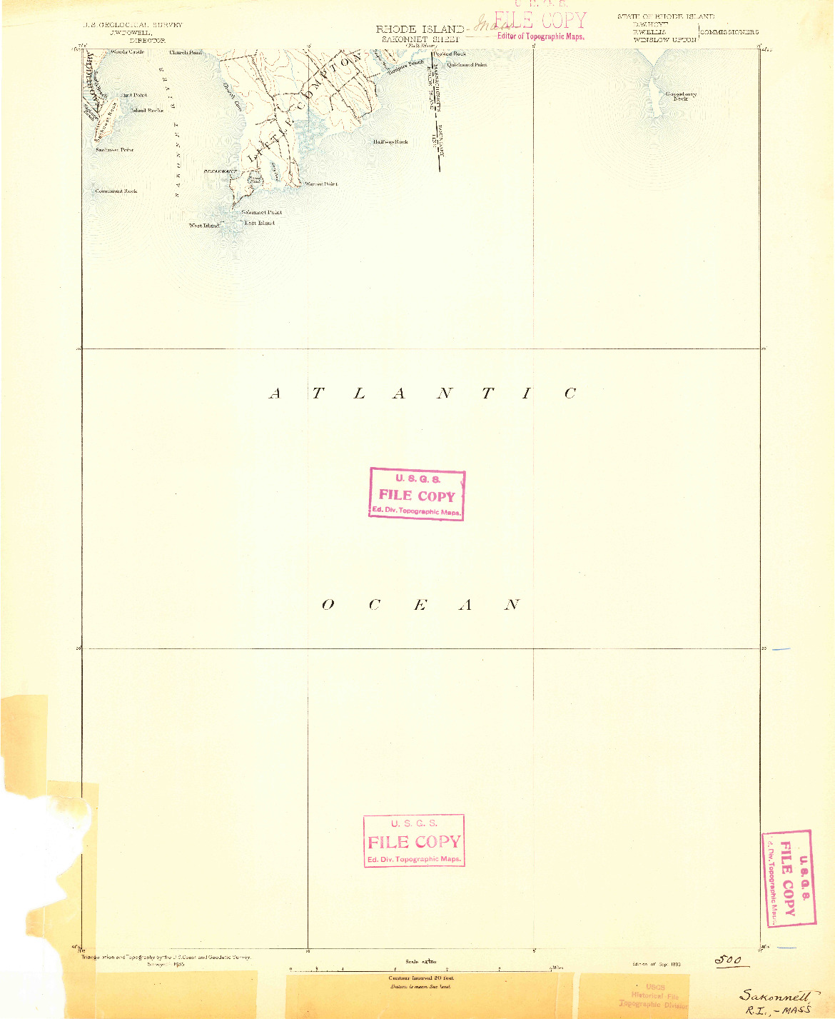 USGS 1:62500-SCALE QUADRANGLE FOR SAKONNET, RI 1893