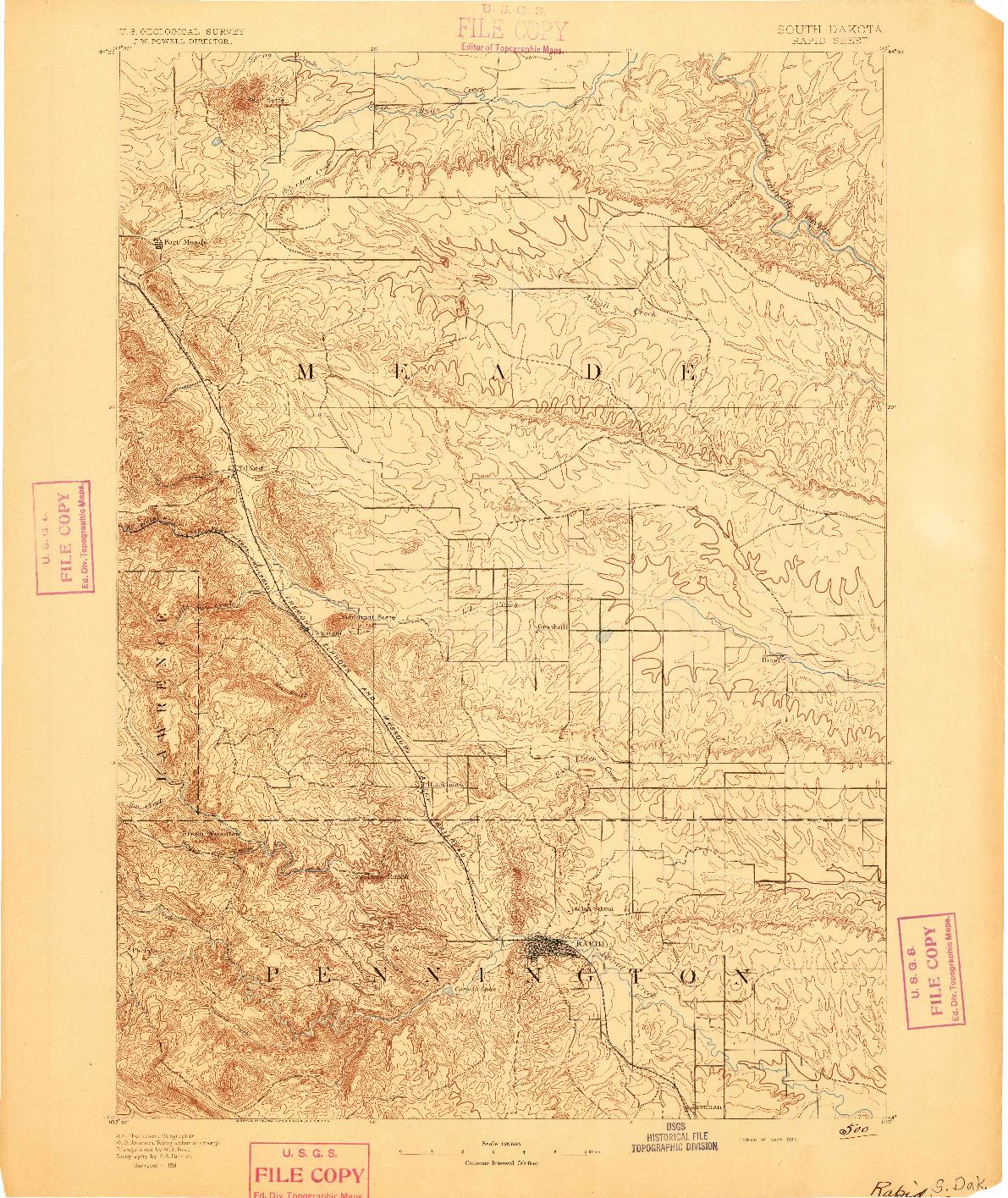 USGS 1:125000-SCALE QUADRANGLE FOR RAPID, SD 1893