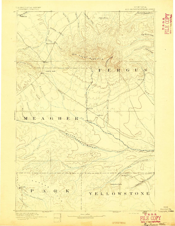 USGS 1:250000-SCALE QUADRANGLE FOR BIG SNOWY MOUNTAIN, MT 1893