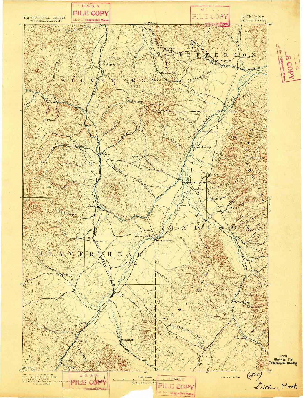 USGS 1:250000-SCALE QUADRANGLE FOR DILLON, MT 1893