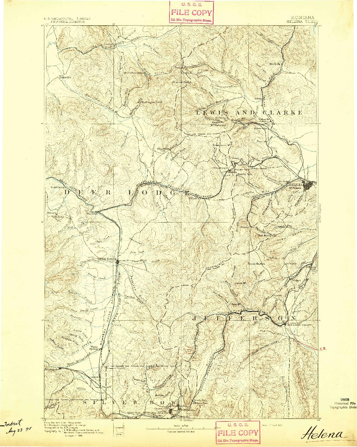 USGS 1:250000-SCALE QUADRANGLE FOR HELENA, MT 1893