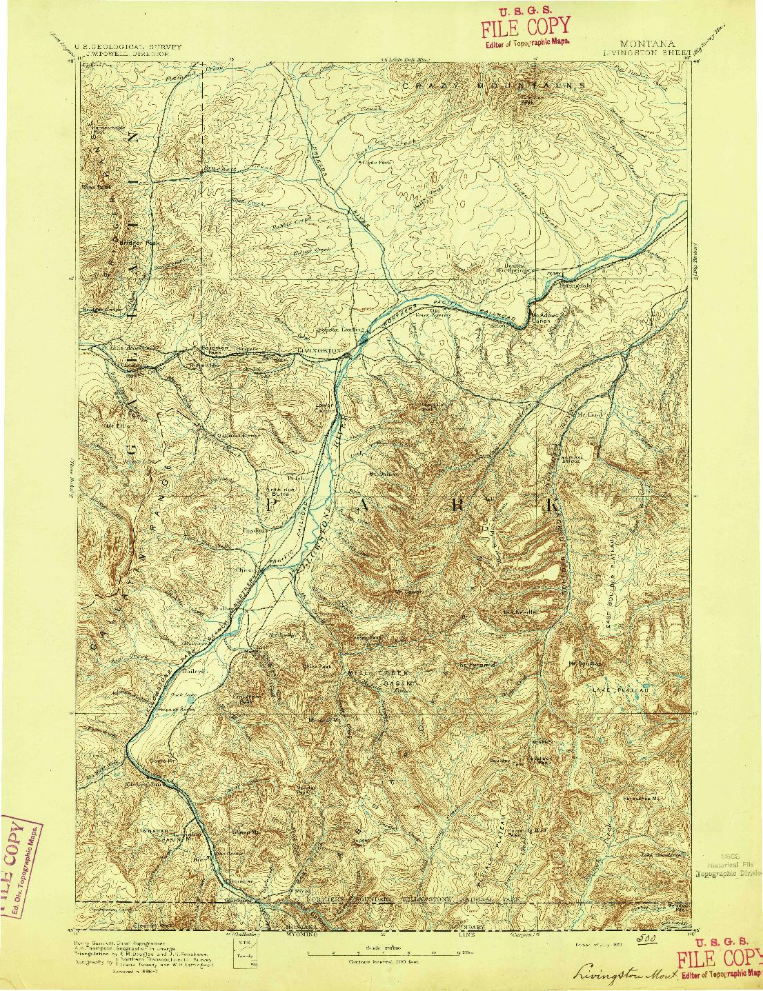 USGS 1:250000-SCALE QUADRANGLE FOR LIVINGSTON, MT 1893
