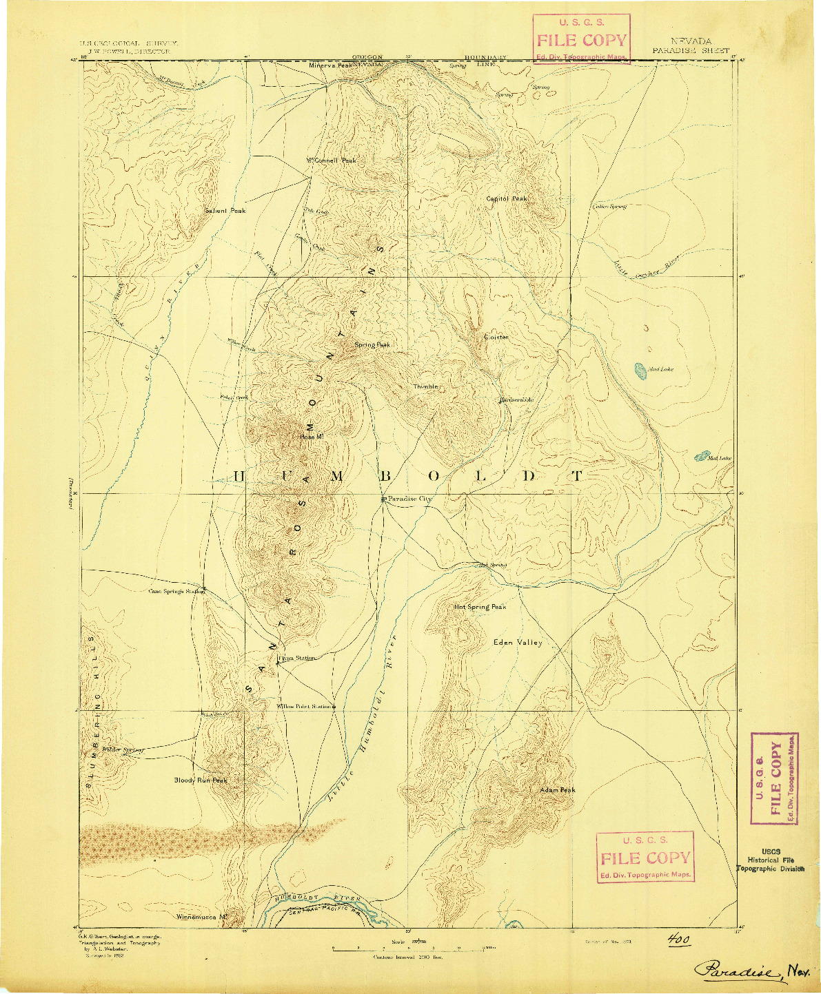 USGS 1:250000-SCALE QUADRANGLE FOR PARADISE, NV 1893