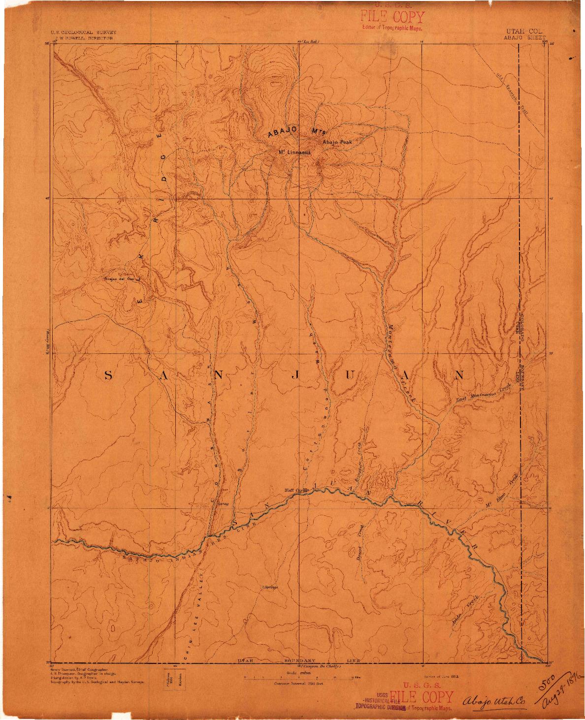 USGS 1:250000-SCALE QUADRANGLE FOR ABAJO, UT 1893