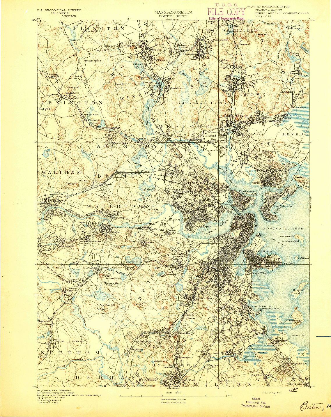 USGS 1:62500-SCALE QUADRANGLE FOR BOSTON, MA 1893