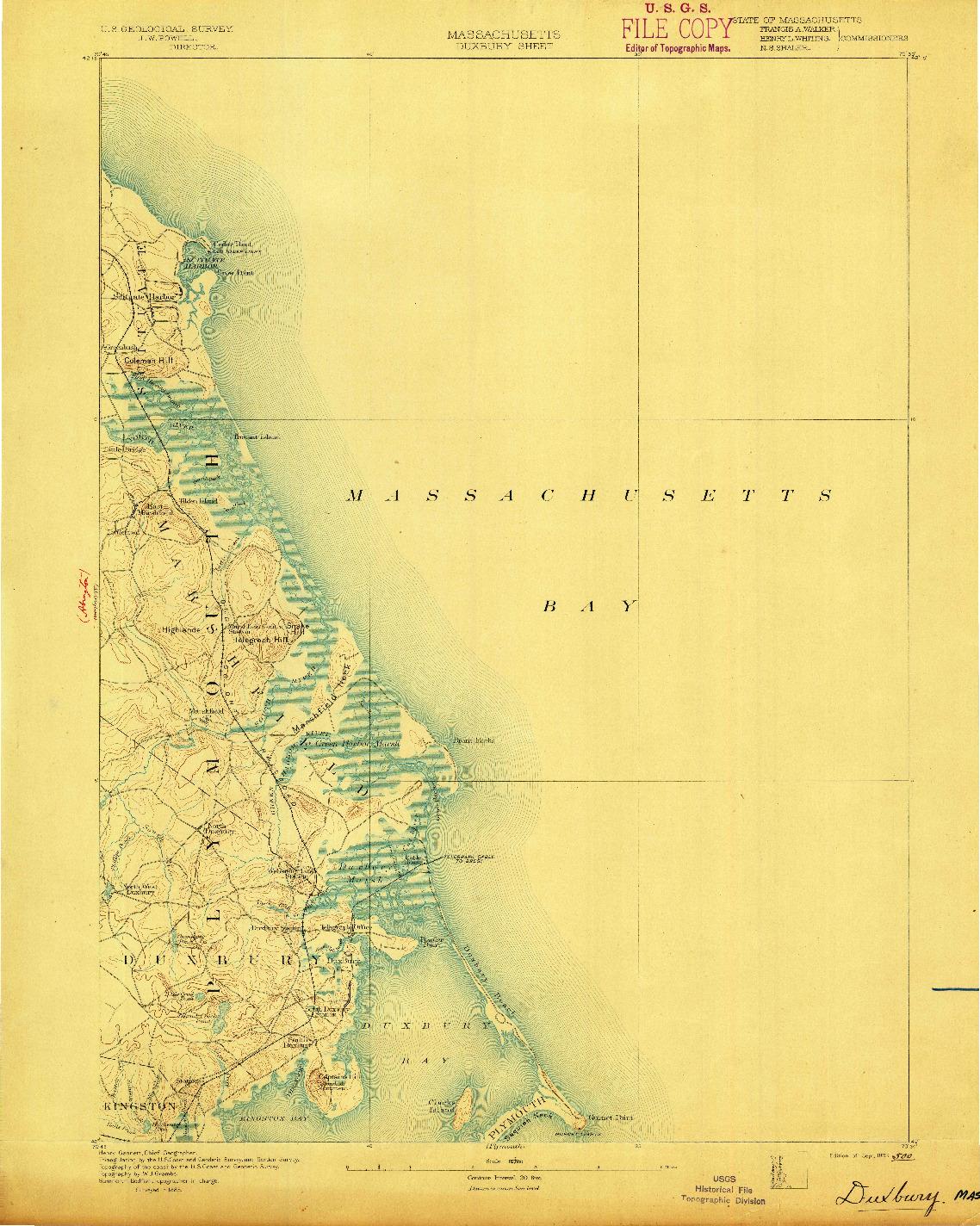 USGS 1:62500-SCALE QUADRANGLE FOR DUXBURY, MA 1893