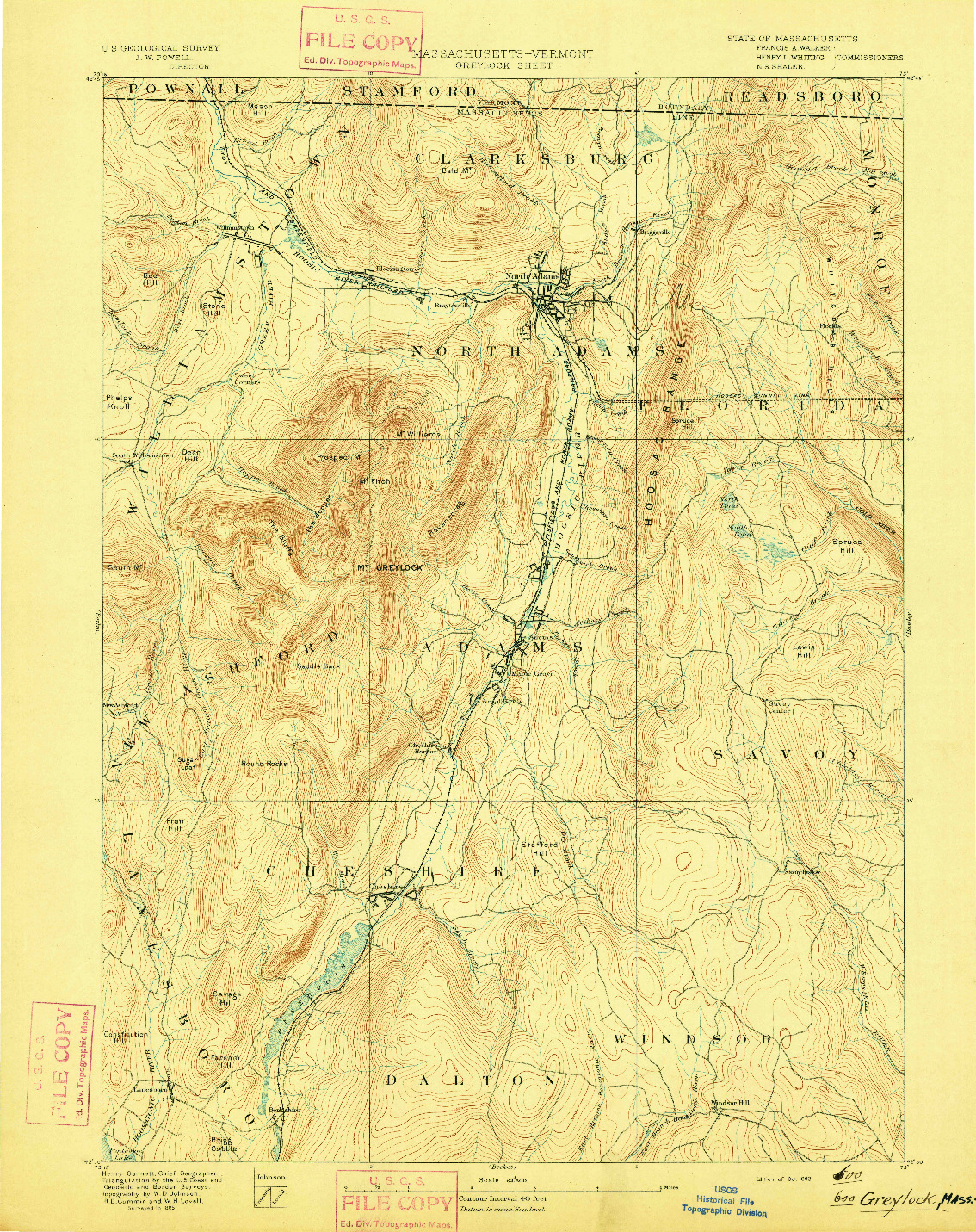 USGS 1:62500-SCALE QUADRANGLE FOR GREYLOCK, MA 1893