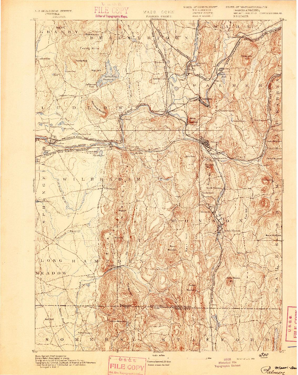 USGS 1:62500-SCALE QUADRANGLE FOR PALMER, MA 1893