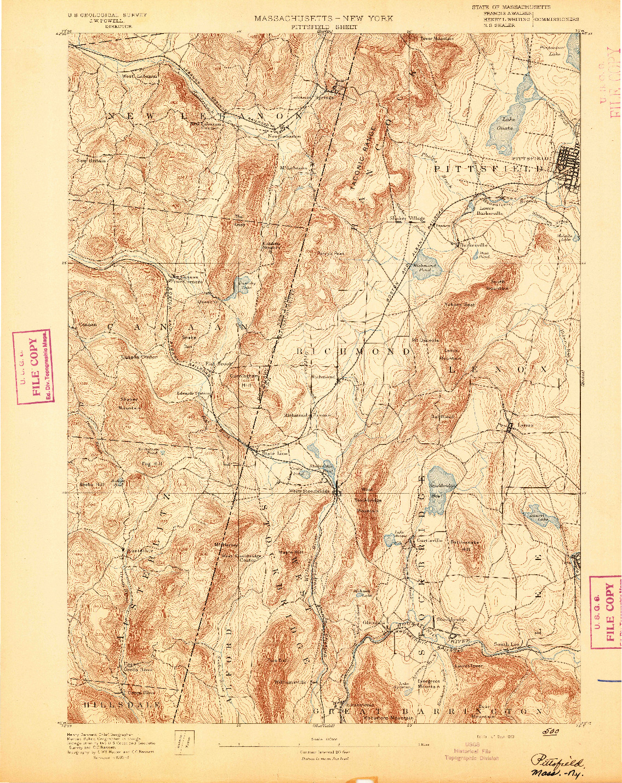 USGS 1:62500-SCALE QUADRANGLE FOR PITTSFIELD, MA 1893
