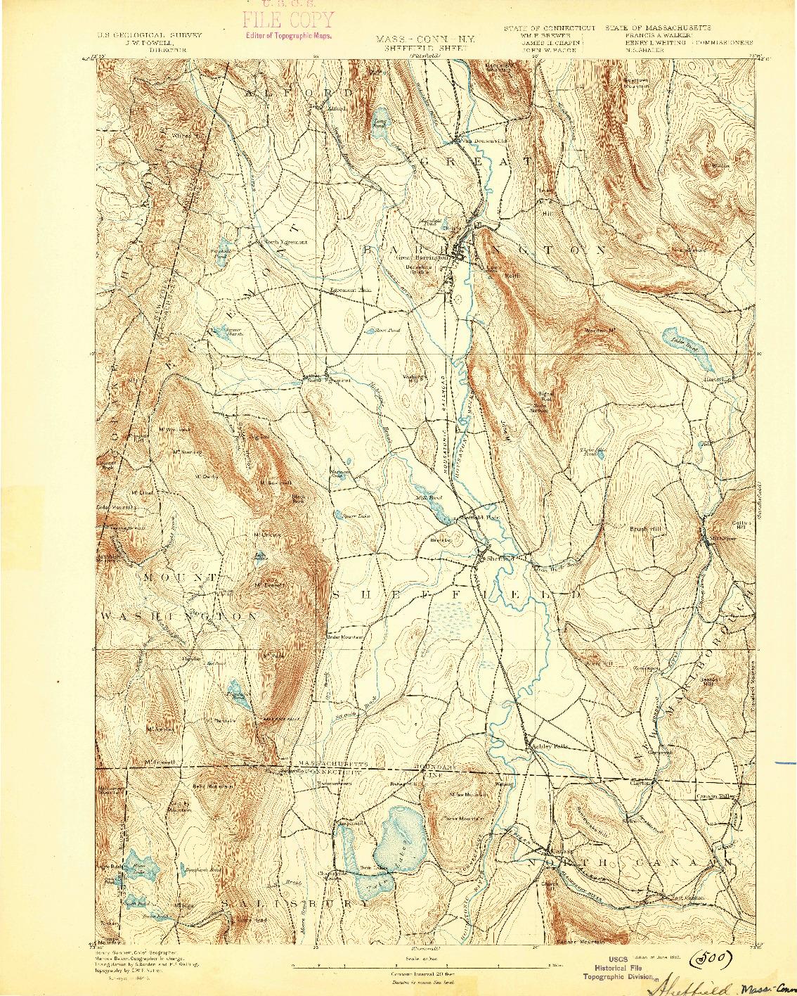 USGS 1:62500-SCALE QUADRANGLE FOR SHEFFIELD, MA 1893