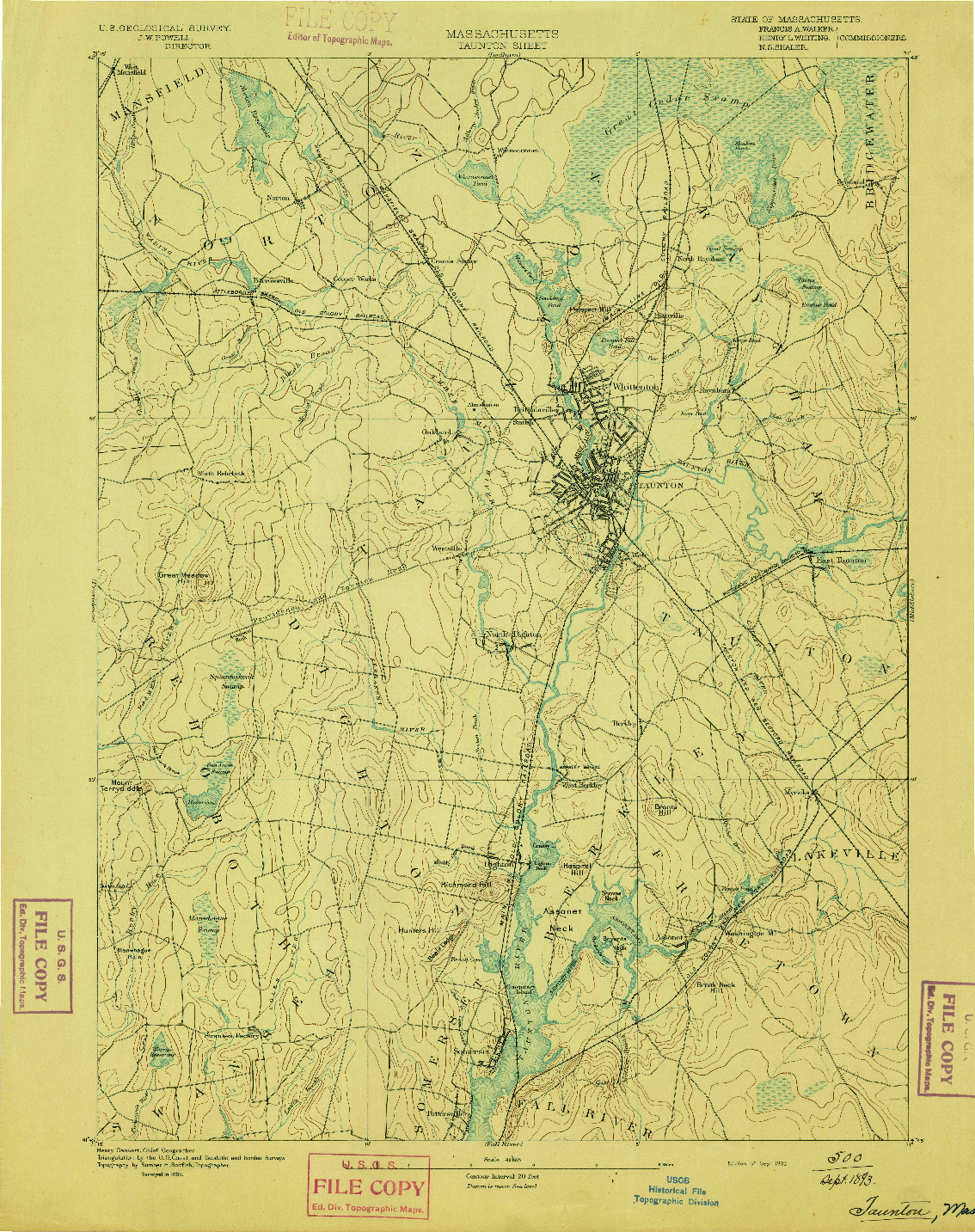 USGS 1:62500-SCALE QUADRANGLE FOR TAUNTON, MA 1893