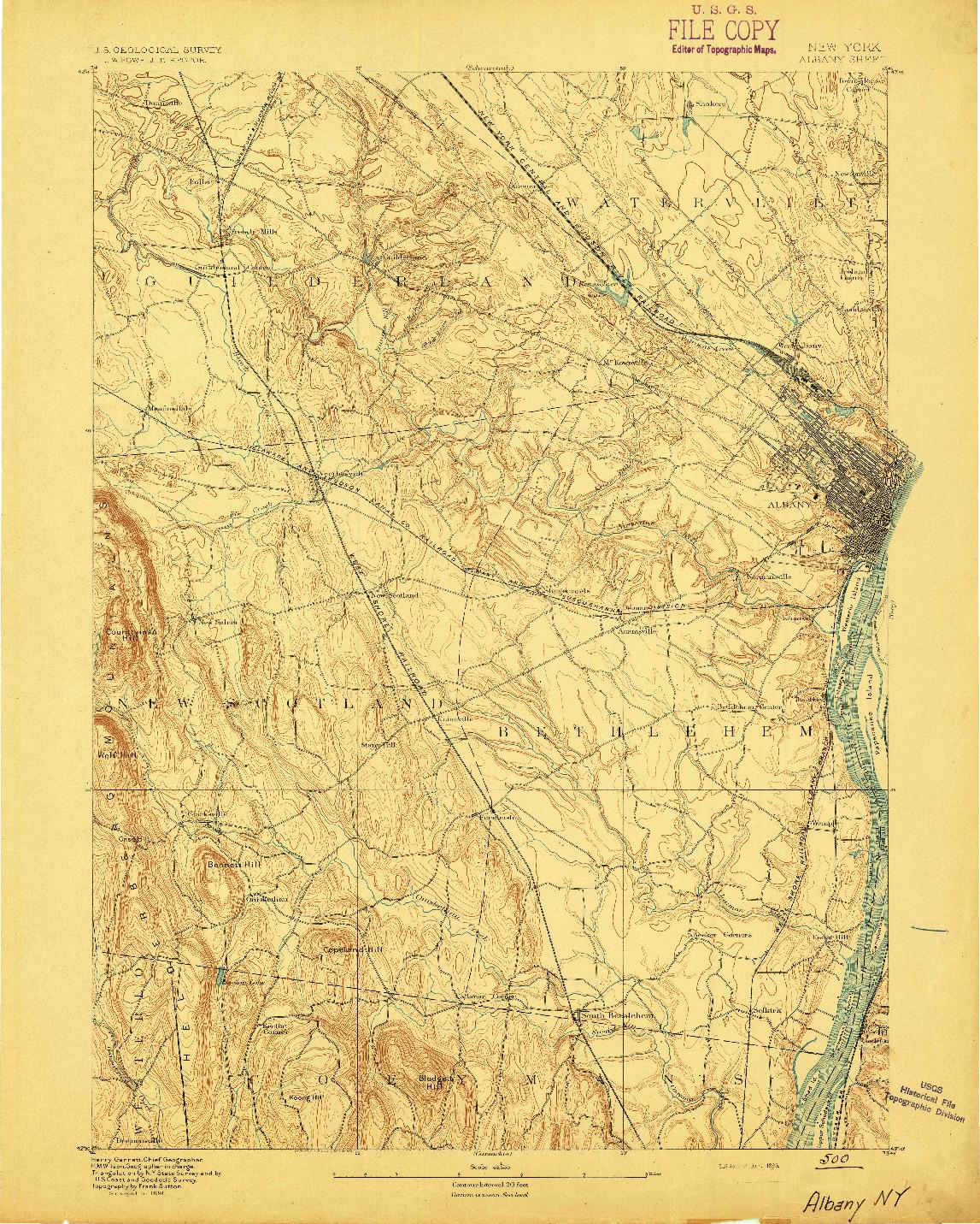 USGS 1:62500-SCALE QUADRANGLE FOR ALBANY, NY 1893