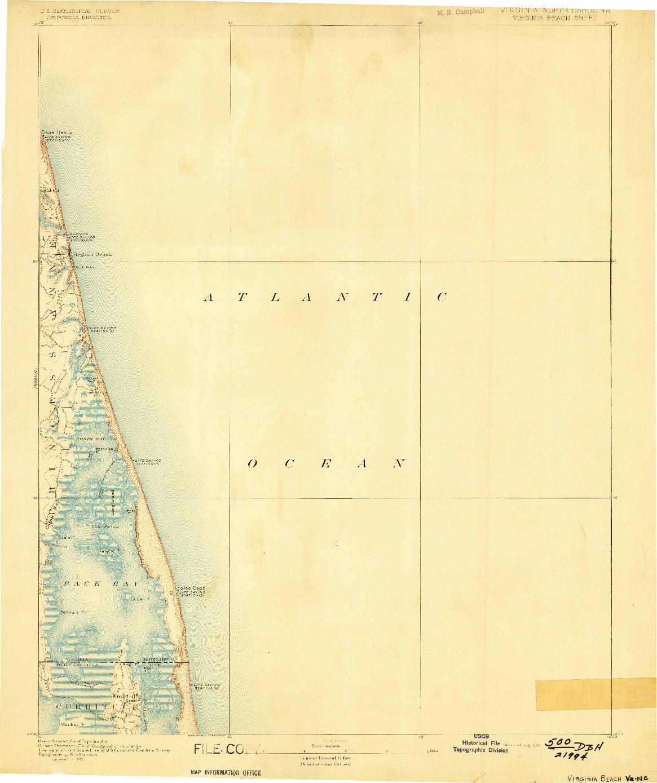 USGS 1:125000-SCALE QUADRANGLE FOR VIRGINIA BEACH, VA 1893