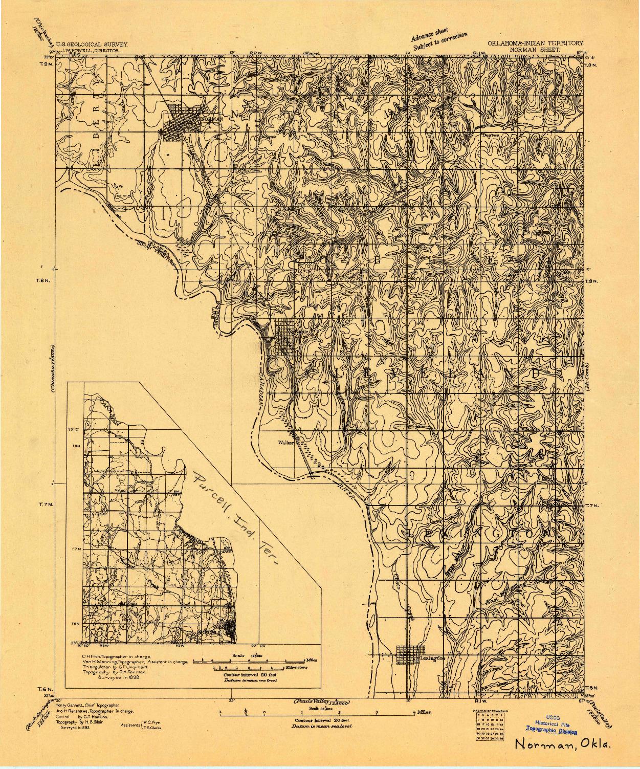 USGS 1:62500-SCALE QUADRANGLE FOR NORMAN, OK 1893