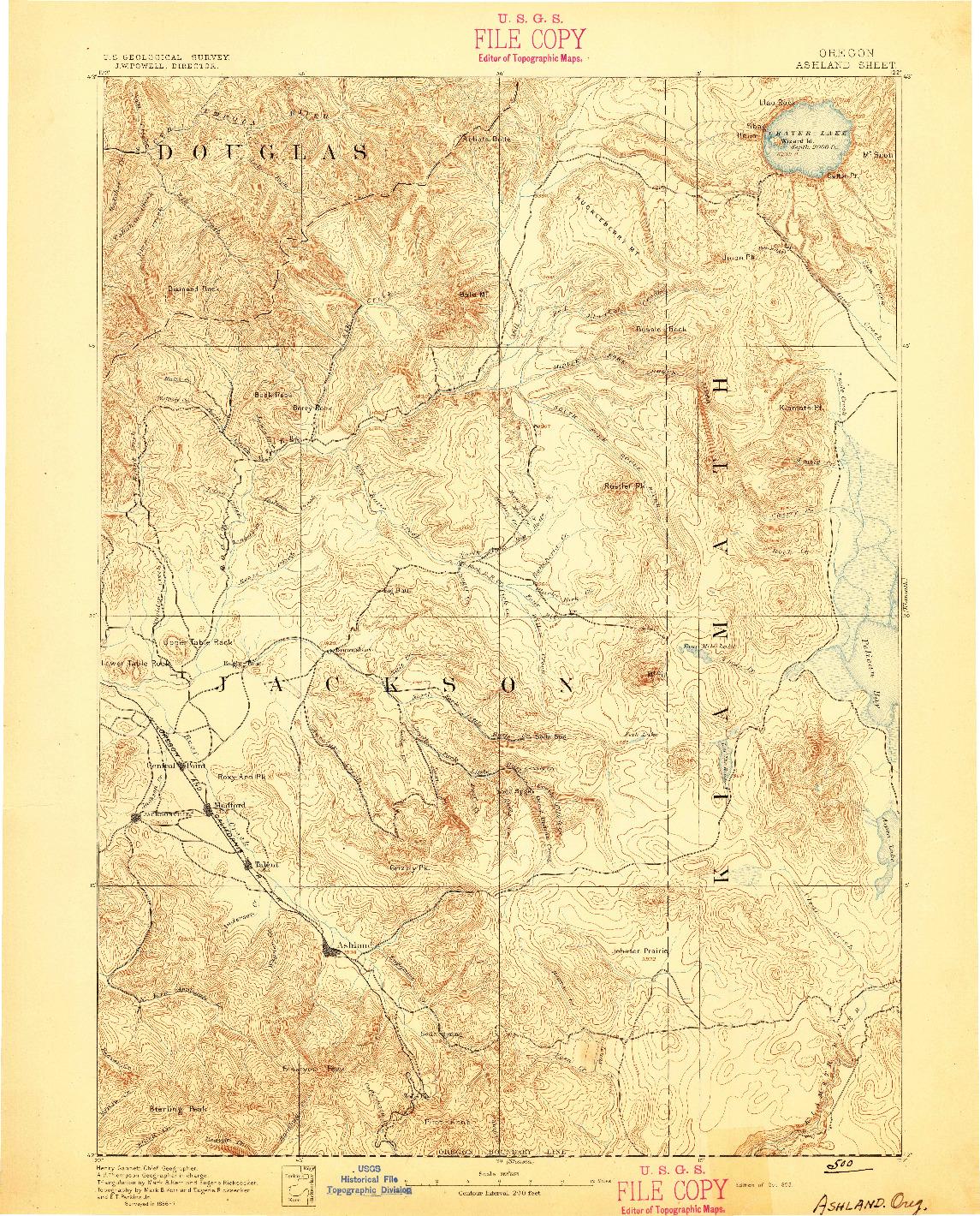 USGS 1:250000-SCALE QUADRANGLE FOR ASHLAND, OR 1893