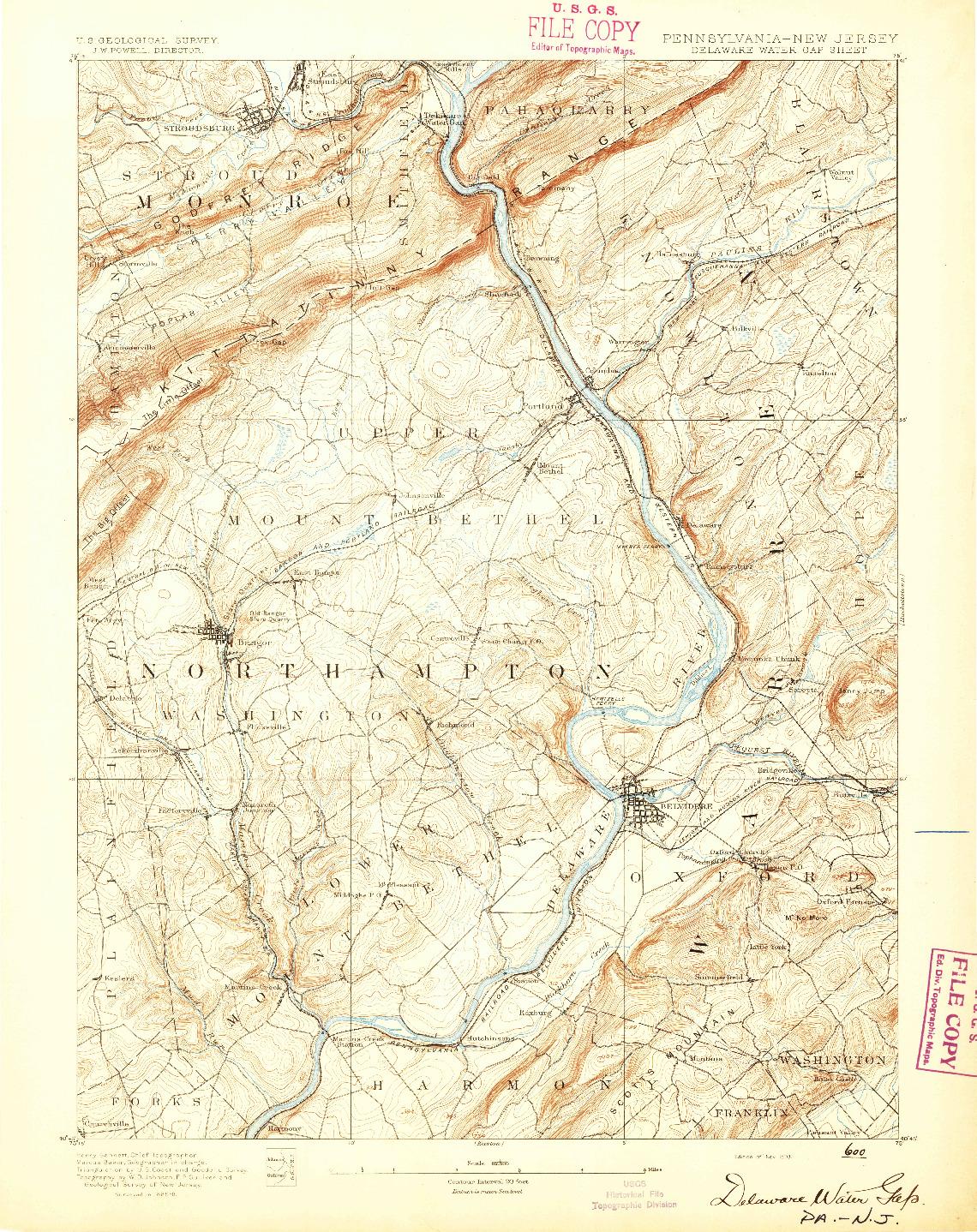 USGS 1:62500-SCALE QUADRANGLE FOR DELAWARE WATER GAP, PA 1893