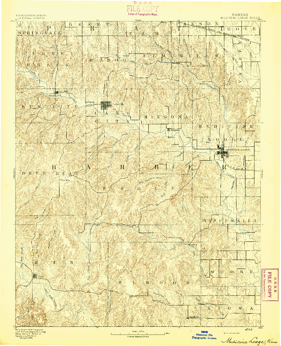 USGS 1:125000-SCALE QUADRANGLE FOR MEDICINE LODGE, KS 1893